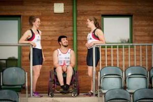three rowing students talking in the hartpury sports academy